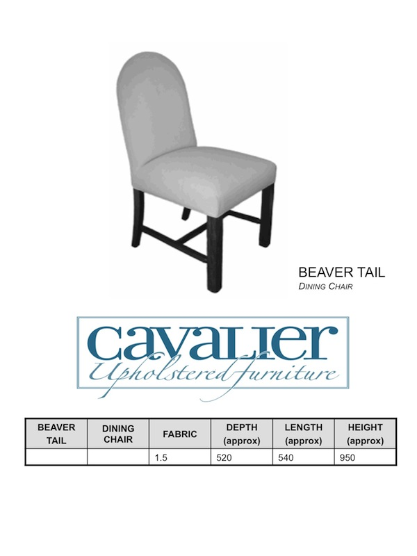 Beaver Tail Dining Chair - with H frame base