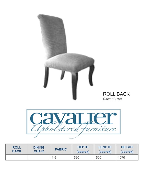 Roll Back Dining Chair - with front cab leg